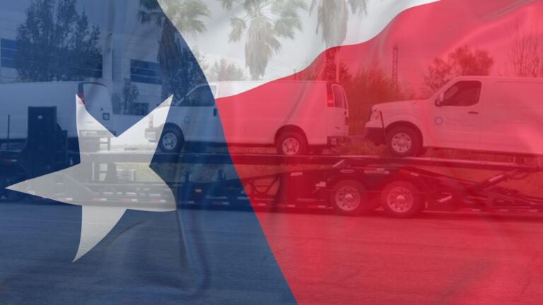 Texas flag over service vans